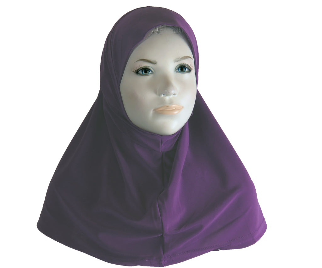 Girls Lycra One Piece Hijab  - Purple S