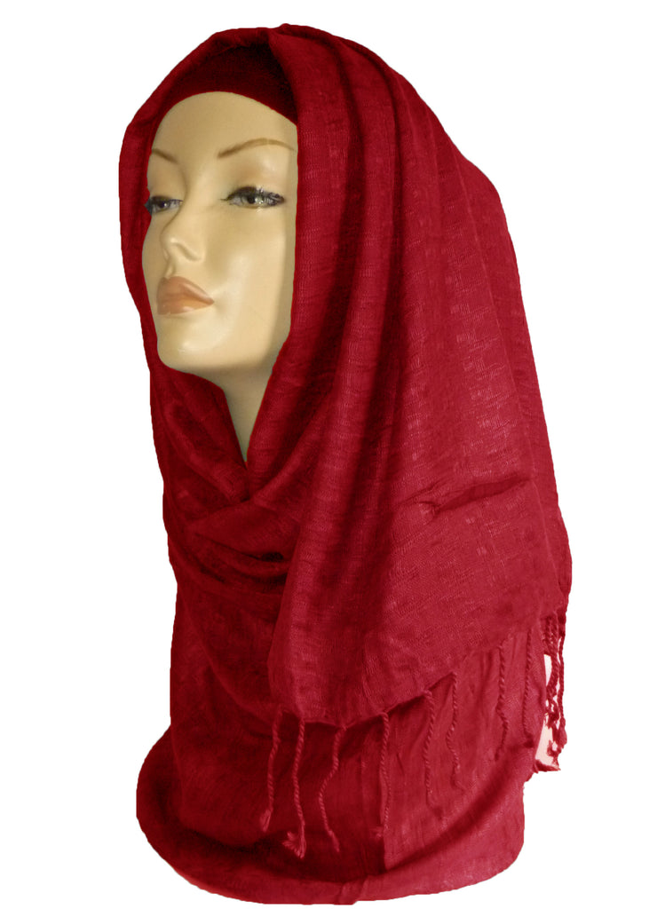WOVEN SHAWL/HIJAB OS- RED