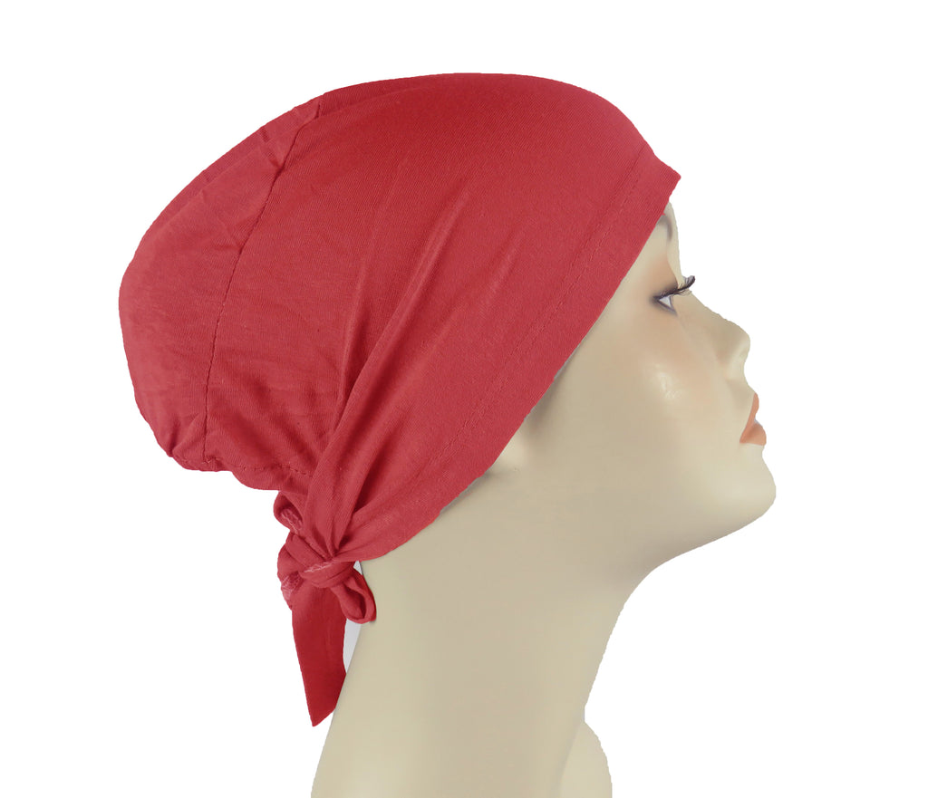PLAIN TIE BONNET/CAP- RED