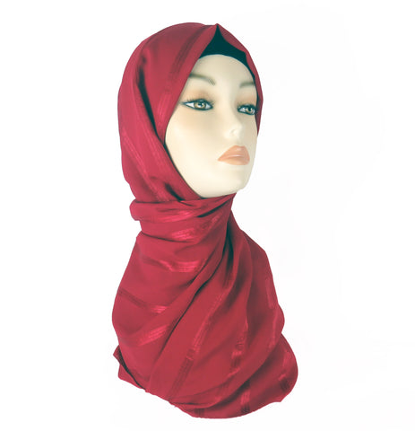 Chiffon Lined  Scarf CS- Red