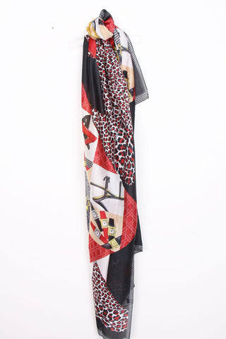 Chain Print Silk Scarf / Hijab 210107-7 -  Red