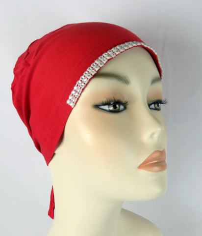 Diamante Tie up Bonnet Ac-Red
