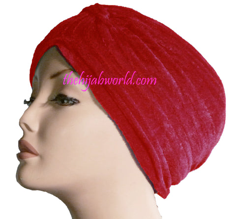 VELVET TURBAN HAT/CHEMO CAP - Red