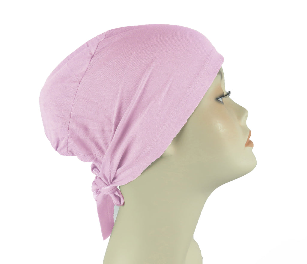 PLAIN TIE BONNET/CAP- ROSE