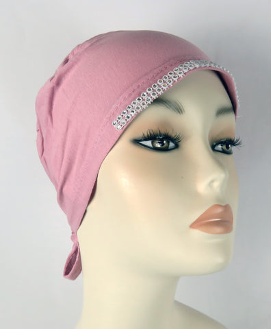 Diamante Tie up Bonnet Ac- Rose Pink