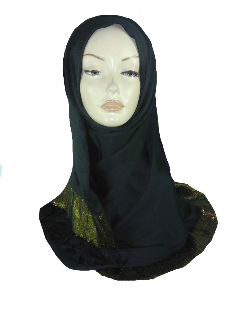 SILKY BORDERED SCARF/HIJAB - BLACK
