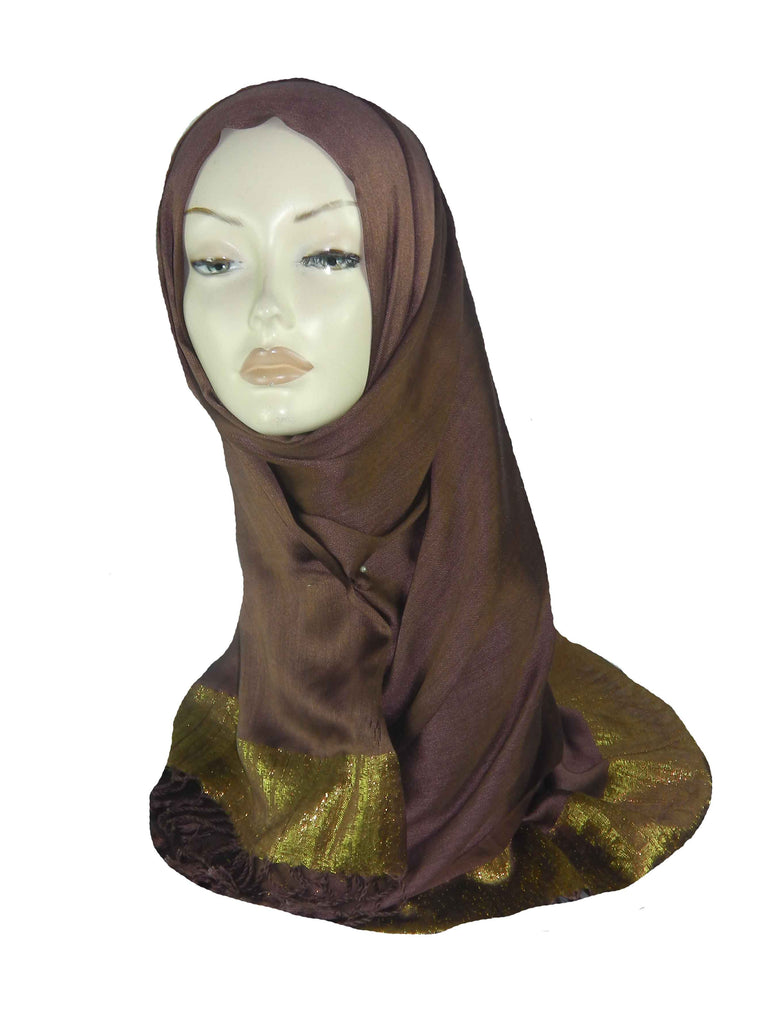 SILKY BORDERED SCARF/HIJAB - BROWN
