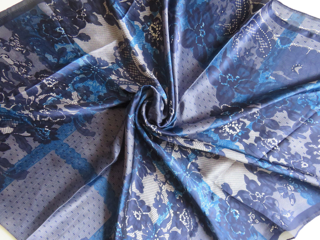 Patterned Silk Scarf/Hijab SS -  Navy Blue