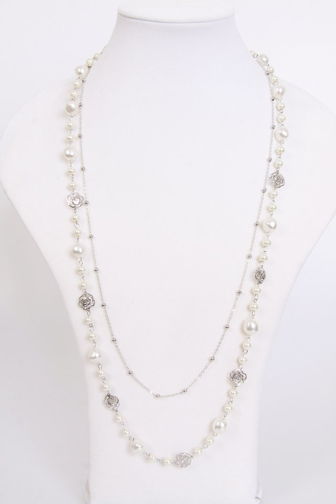 Pearls and Roses Necklace Ac- 02-Silver