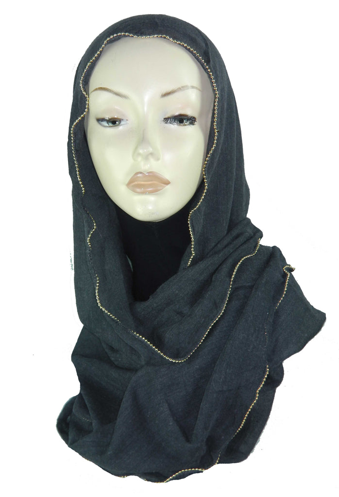Maxi Scarf with gold edging ES03-CHARCOAL