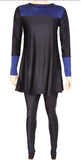 BURKINI/MODEST MUSLIM FULL SWIMSUIT - ZS-Blk/Blu