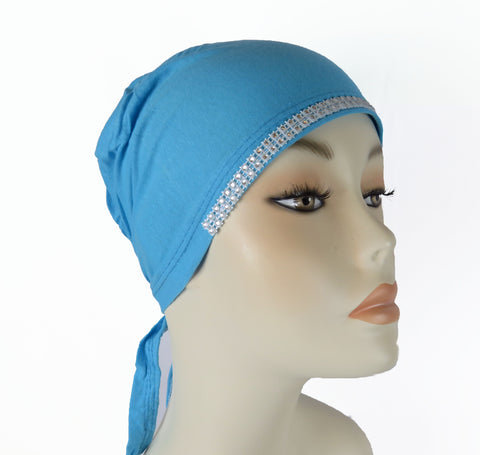 Diamante Tie up Bonnet Ac- Turquoise