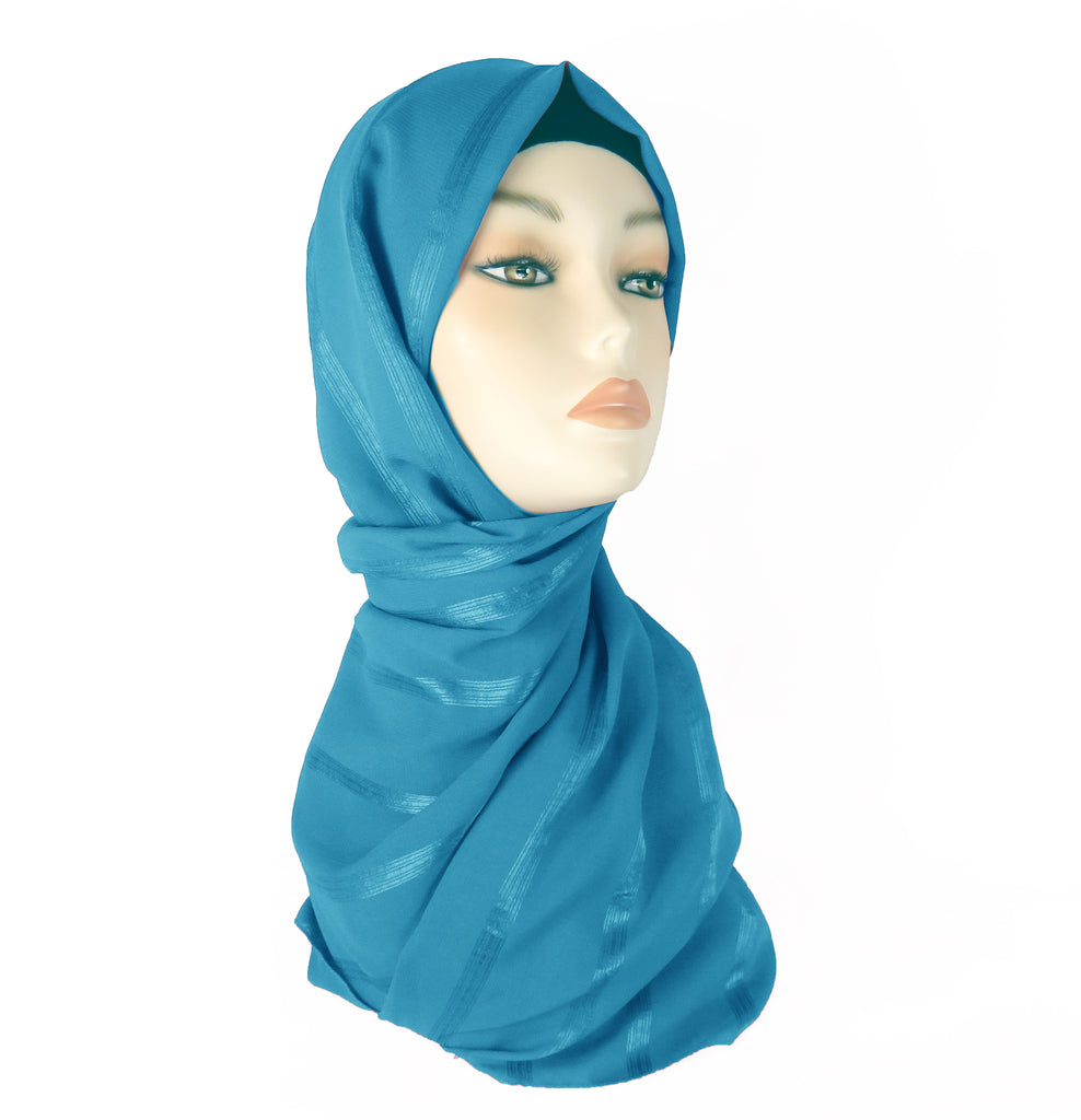 Chiffon Lined Scarf CS- Turquoise