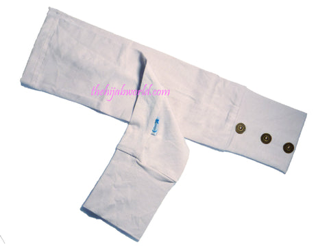 ARM COVERS/SLEEVES WITH BUTTONS -ALT- White