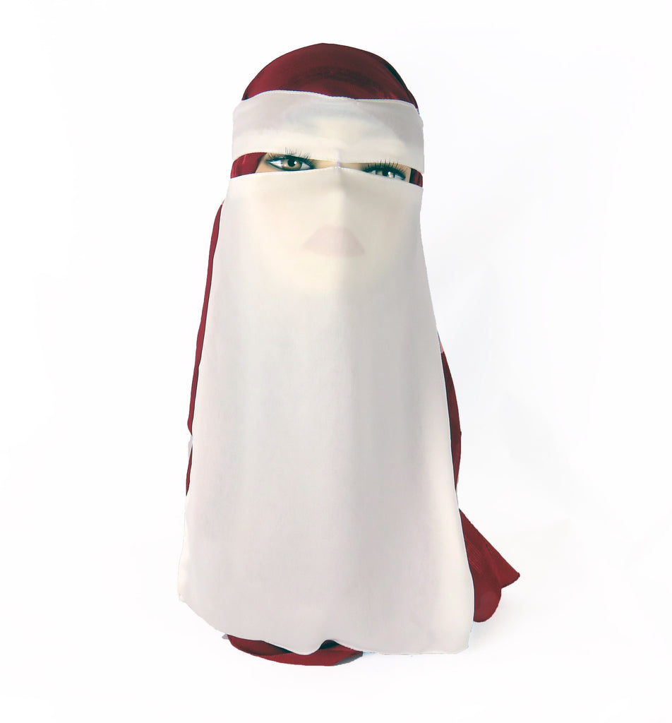 Niqab with Velcro - White Ac-03