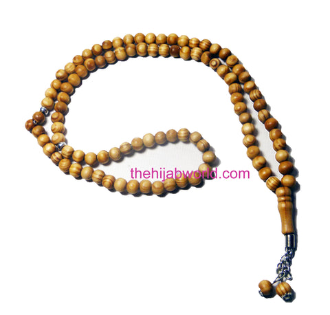 WOODEN PRAYER BEADS/TASBEEH - 100 LIGHT