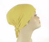 PLAIN TIE BONNET/CAP- yellow
