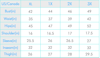 plus size clothes sizing chart