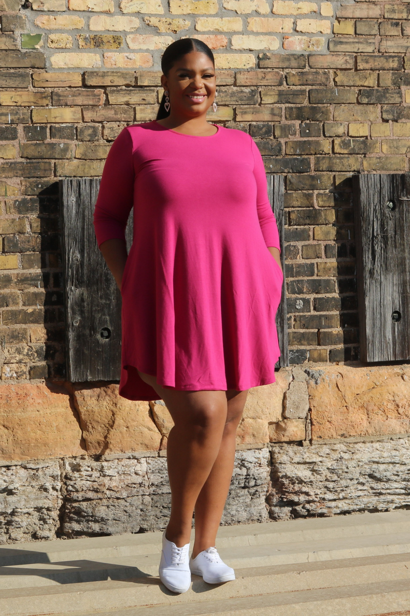 Long Sleeve Dress (Pink)