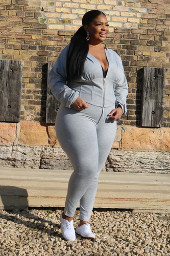 THE FLEX HOODIE SET - HEATHER GREY