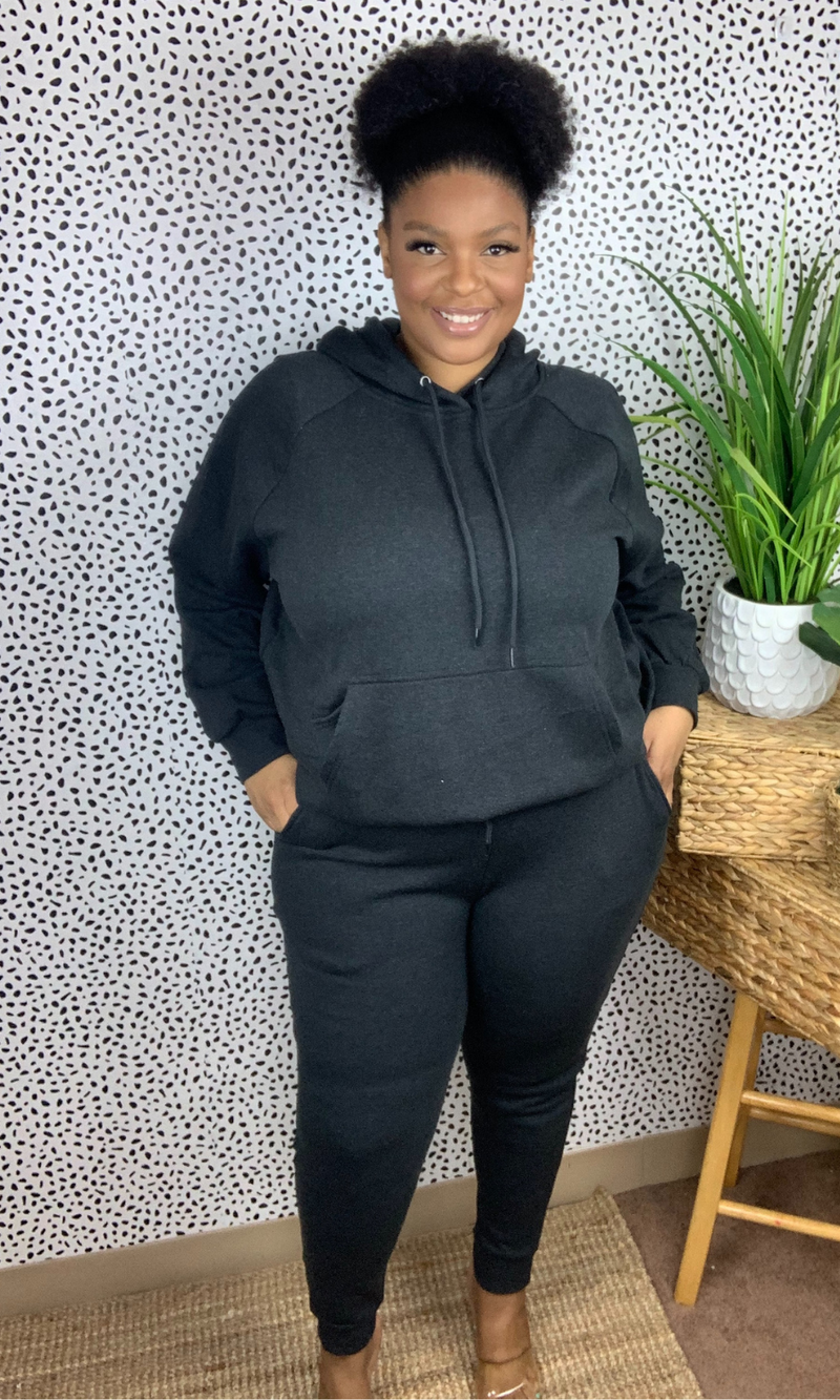 PLUS SIZE JOGGER SWEATSUIT SET - CHARCOAL