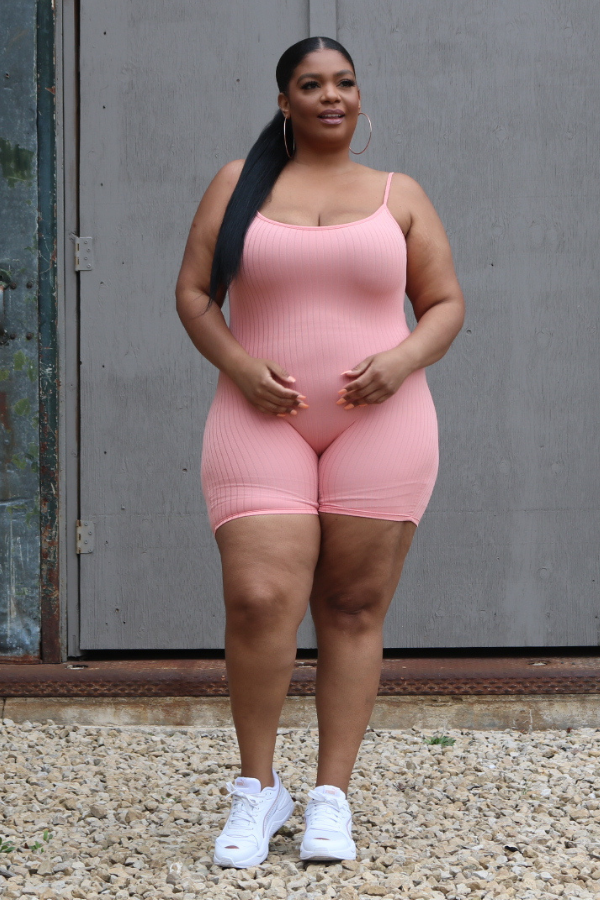plus size romper, salmon plus size romper, plus size cotton romper
