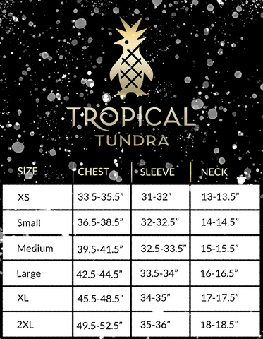 TROPICAL PSYCHEDELIC T-SHIRT SIZE GUIDE FOR RAINFOREST CONSERVATION