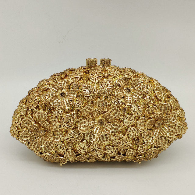 076b4cb6a5357 Boutique De FGG Dazzling Champagne Flower Crystal Clutch Evening ...