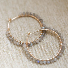Load image into Gallery viewer, Everyday- Gemstone Hoop Earring