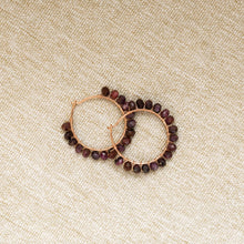 Load image into Gallery viewer, One-Of-A-Kind:  Maroon Raw Sapphire Hoop Earring