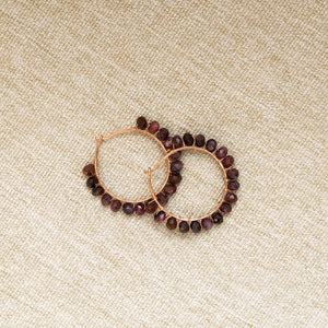 One-Of-A-Kind:  Maroon Raw Sapphire Hoop Earring