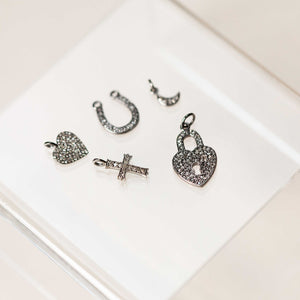 Naomi Eloise:  Oxidized Sterling Silver Diamond Charms