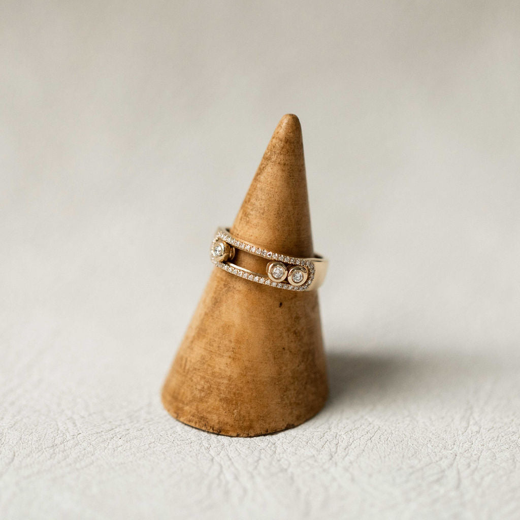 Naomi Eloise: 14k Gold Diamond Slider Ring