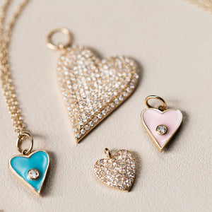 Naomi Eloise: 14k Gold Diamond Heart Charms