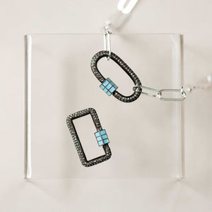 Naomi Eloise:  Oxidized Sterling Silver Diamond Carabiner