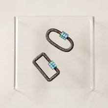 Load image into Gallery viewer, Naomi Eloise:  Oxidized Sterling Silver Diamond Carabiner
