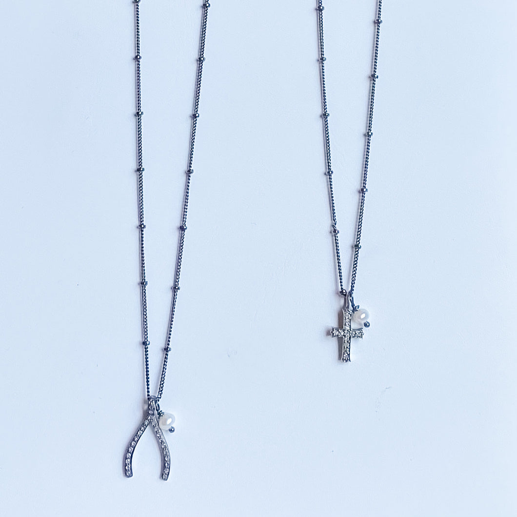 Ready to Wear:  Oxidized Sterling Silver Diamond Charm Necklace