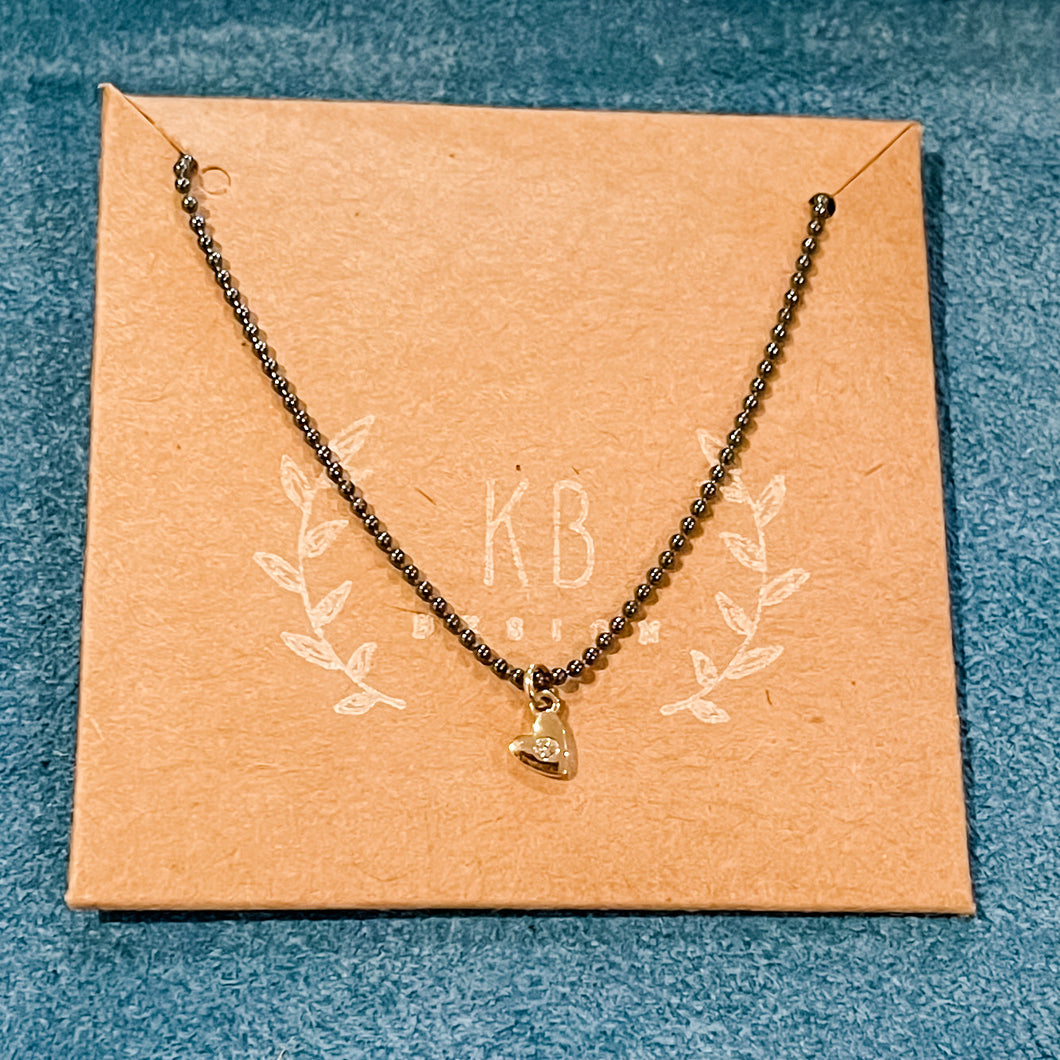 Ready to Wear:  Tiny 14k Gold Heart Charm Necklace