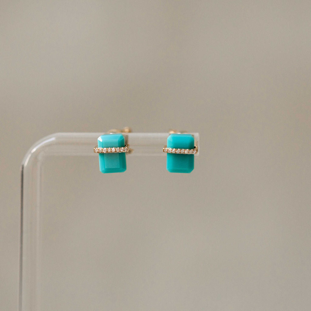 Naomi Eloise: Diamond Gemstone Chiclet Earring