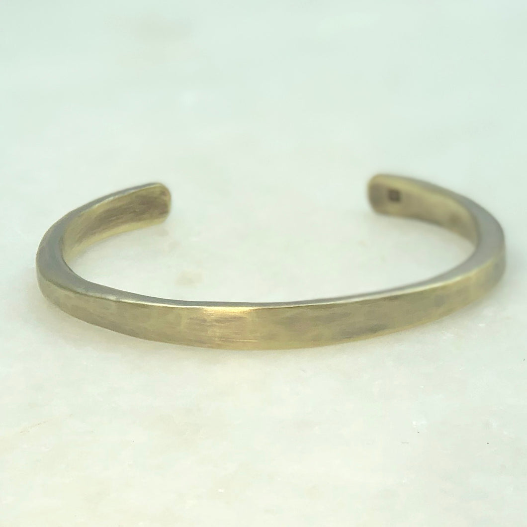 Custom Order:  Men's Hammered Brass Bracelet- CG