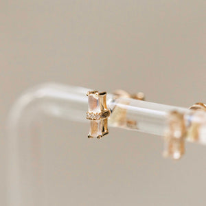 Naomi Eloise:  Rainbow Moonstone and Diamond Bar Earring
