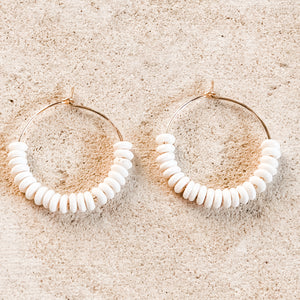 Summer Hoops with Bone Beads, Medium