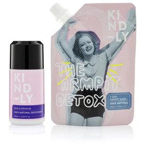 KIND-LY 100% Natural Deodorant Rose & Geranium & The Armpit Detox