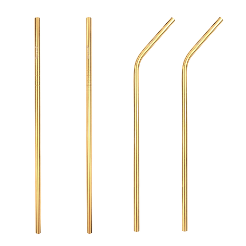 LONG - Gold Stainless Steel Straws (4 pk | 3 styles) - Mermaid Straw