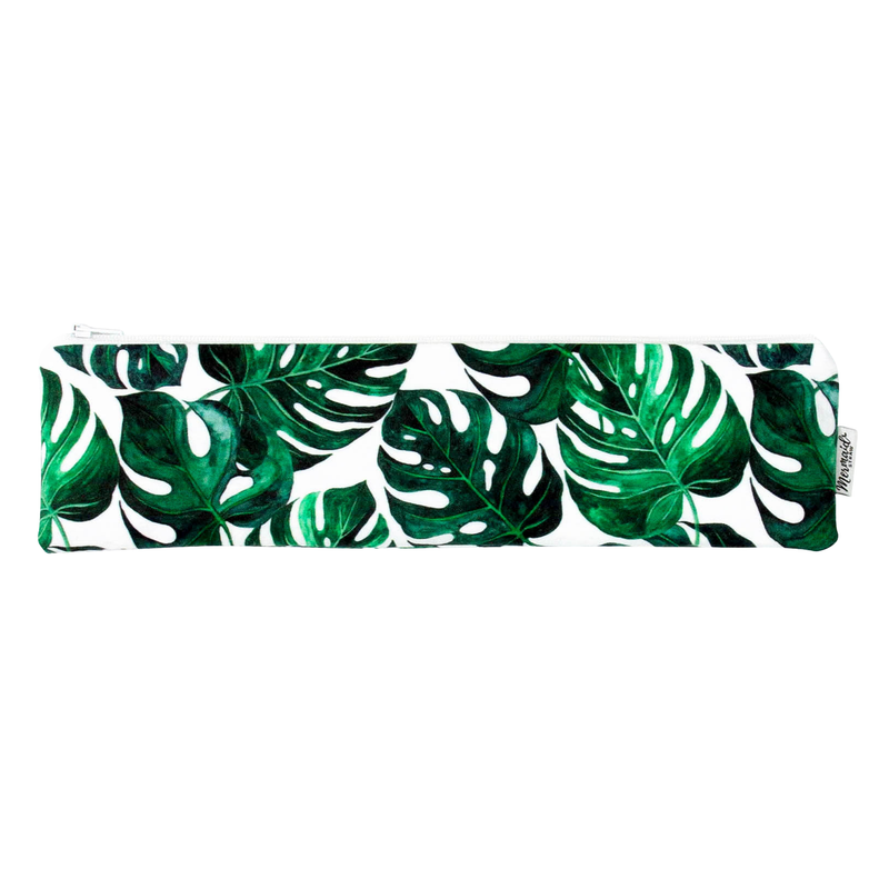 Monstera Leaf Zipper Pouch - Mermaid Straw