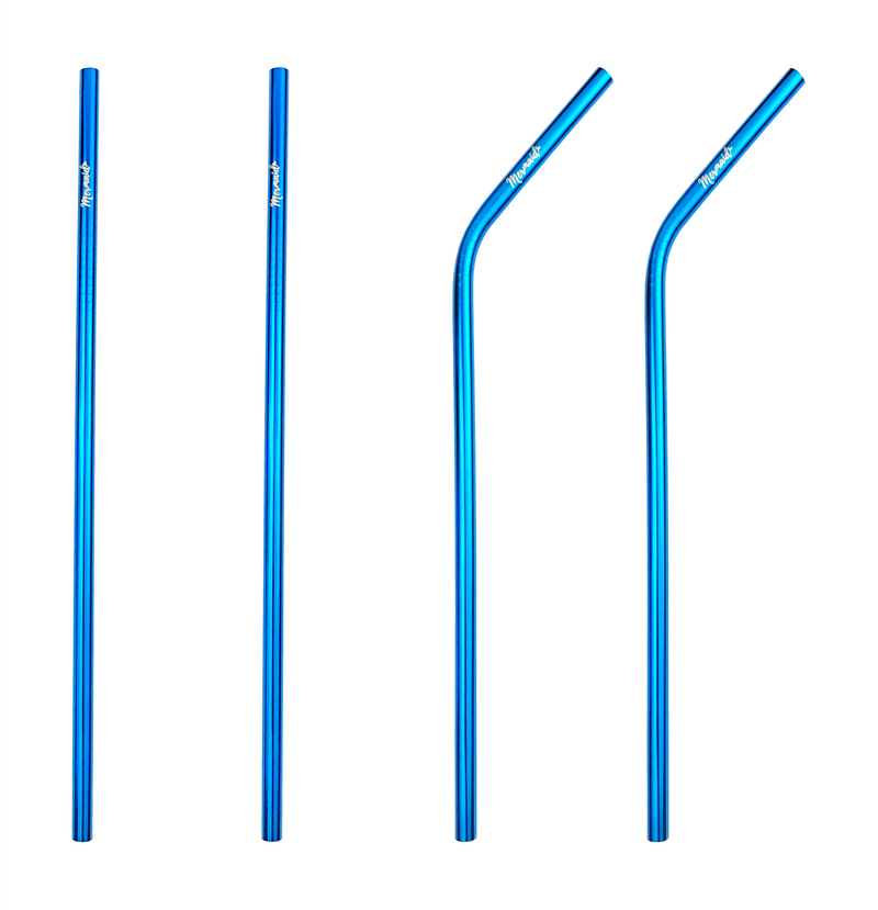 Ocean Blue Stainless Steel Straws (4 pk | 3 styles) - Mermaid Straw