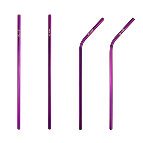 Purple Stainless Steel Straws (4 pk | 3 styles)