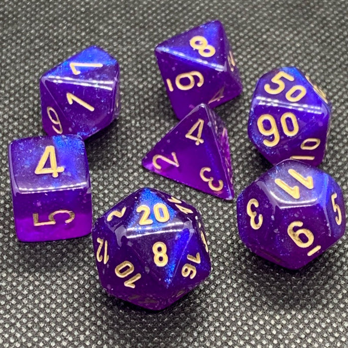 Borealis Royal Purple Luminary Polyhedral RPG Dice Set
