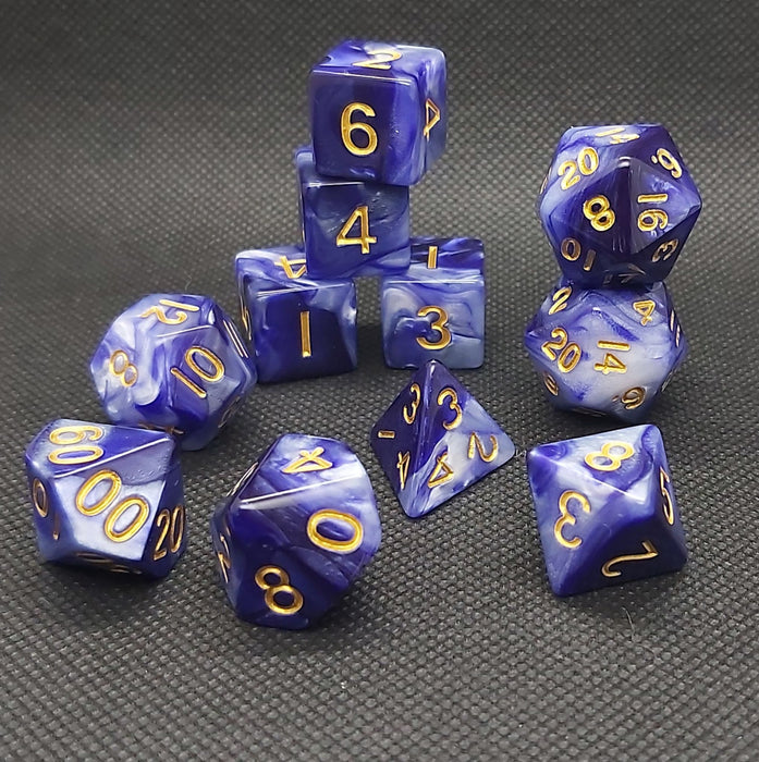 Extended Set Indigo and White Polyhedral RPG Dice Set