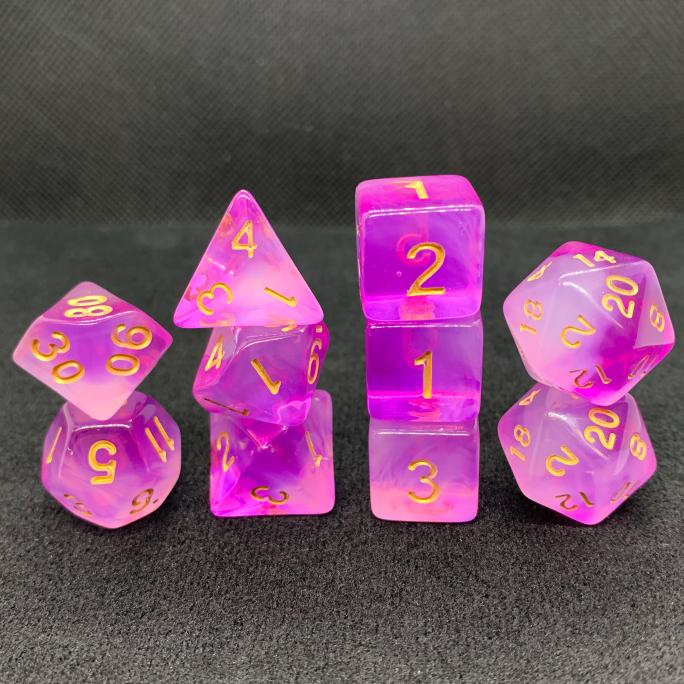 Extended Cloudy Purple Polyhedral RPG Dice Set